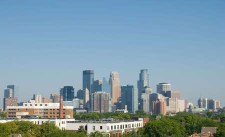 ミネソタ州ミネアポリスのダウンタウンのスカイライン 写真素材