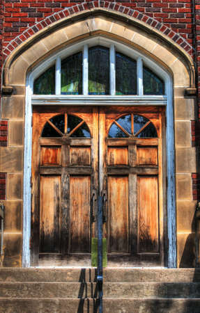 HDR photo of wooden church doors photo