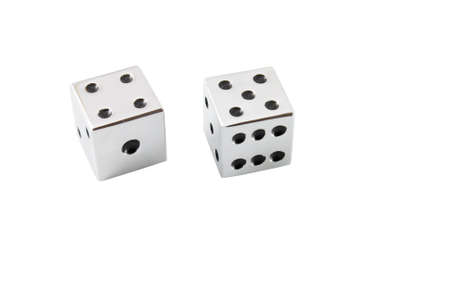 Silver dice isolated on a white background Stock Photo - 3534906