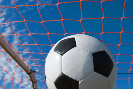 Soccer ball with the net behind it
