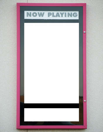 Blank now playing sign for movie theater Archivio Fotografico