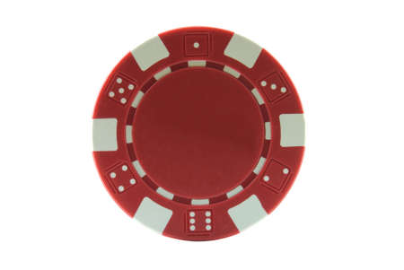 Red poker chip isolated on a white background Stock Photo - 3636595