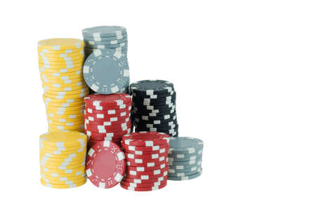 Stacks of several poker chips isolated on white Stock Photo - 3636591