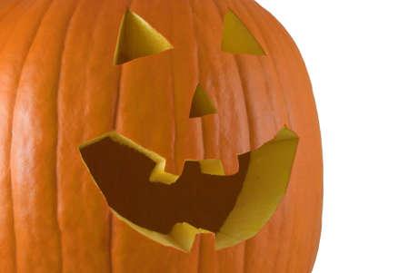 Carved Jack O' Lantern isolated on a white background Stock Photo - 3636592