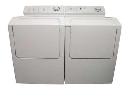 machine � laver: Laveuse et s�cheuse appareils isol� sur blanc
