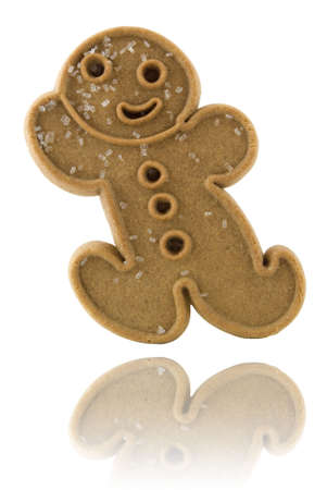 gingerbread cookie: Gingerbread cookie with reflection isolated on white Stock Photo