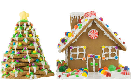 Gingerbread house and tree isolated on white Stock Photo