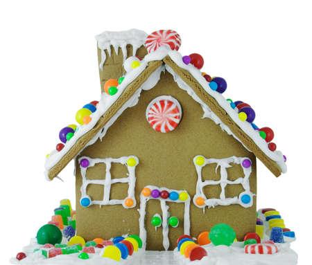 casita de dulces: Pan casa aislada sobre un fondo blanco