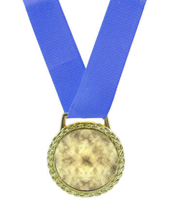 Gold medal attached to a blue ribbon isolated on white