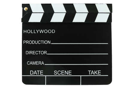 Directors clapboard isolated on a white background photo