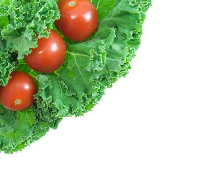 グリーン キャベツとミニトマトの白で隔離 写真素材