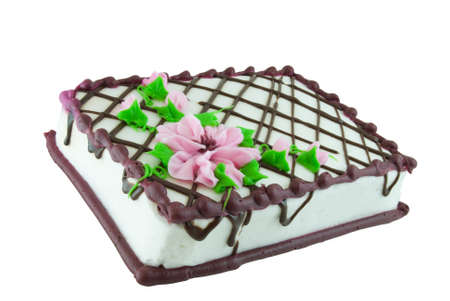 Sheet cake decorated with pink flowers isolated on white