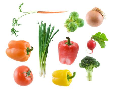 Large image of various vegetables isolated on white photo