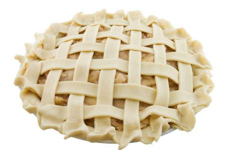 래티스 사과 파이 아직 구운 화이트에 고립 된 스톡 콘텐츠