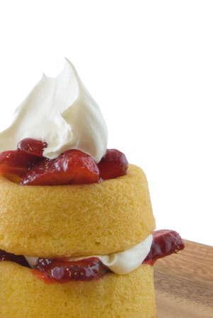 Strawberry shortcake dessert on plate isolated on white