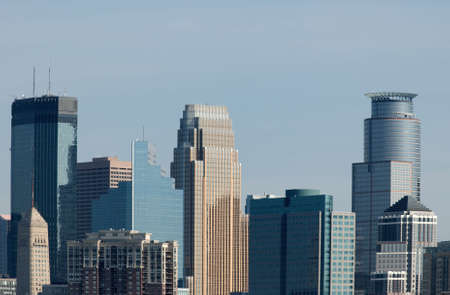 Several skyscrapers in downtown Minneapolis Minnesota Stock Photo