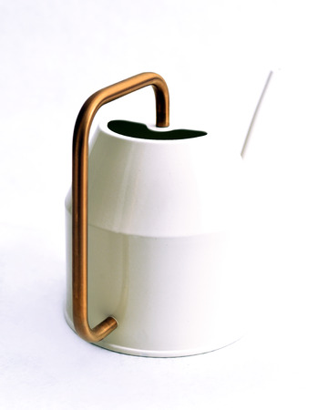 Modern white watering can with brass handle