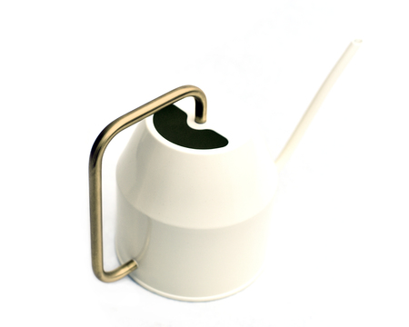 Modern white watering can with metal handle