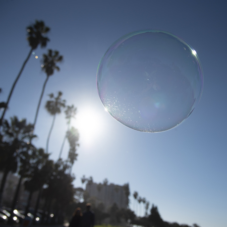 A soap bubble floating in front of palm trees in California Standard-Bild