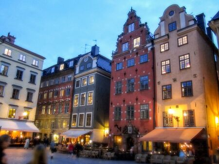 Buildings in Stortorget square in Stockholm at night
