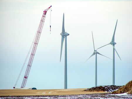 Windmills being constructed