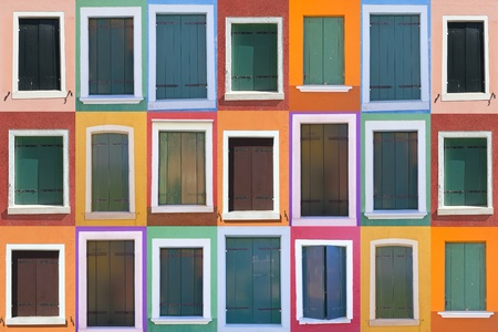 Set of 21 color windows of the island Burano  Venice, Italy  photo