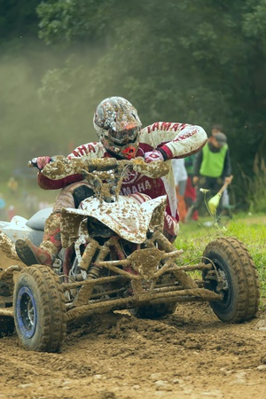 Detailed view of quad motorbike racer in turn Stock Photo - 12849010