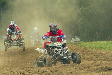 Group of quad motorbike racers