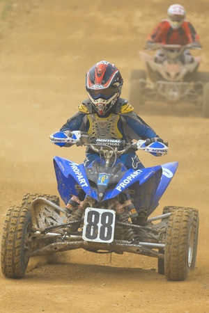 JEVICKO, CZECH REPUBLIC - JULY 23: Unidentified racers rides a quad motorbike in the