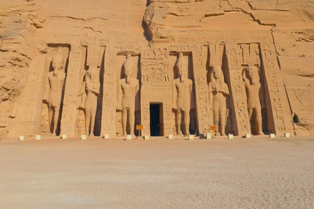 Temple of Hathor, dedicated to the wife of Ramses II, wife Nefertari  Built in 1274-1244 BC    The temples were moved in 1964-1968 to the present site to prevent them being innundated by Lake Nasser