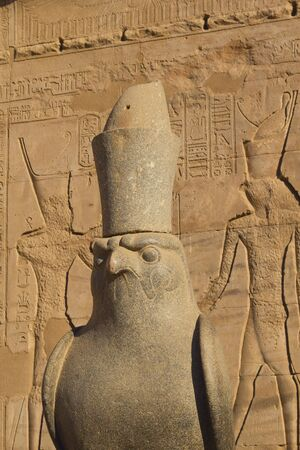 Statue of the god Horus in Edfu temple  Egypt   Stock Photo