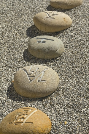 Boulders carved with Chinese characters lying in the gravel  photo