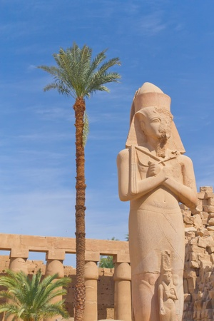 Rameses II Statue at Karnak Temple   Luxor, Egypt   Blue sky in the background