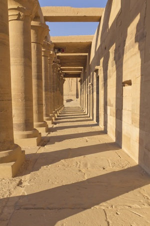 A colonnade of ancient Egyptian columns at Philae Temple  near Aswan, Egypt  photo