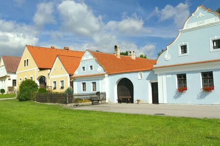 bohemia: Rural decorated houses in Zabori   Czech Republic   in South Bohemia   Stock Photo