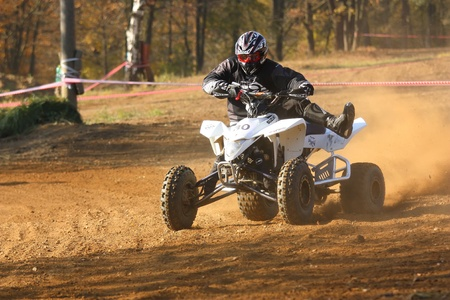 ZABREH, CZECH REPUBLIC - OCTOBER 30. Unidentified racer rides a quad motorbike in the Zabrezky Motocross on October 30, 2010 in the town of Zabreh, Czech Republic.