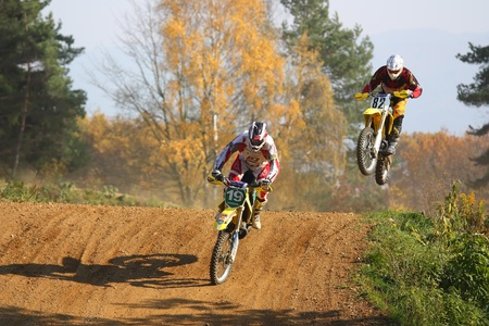 ZABREH, CZECH REPUBLIC - OCTOBER 30. Motocross race called the Zabrezky motocross. Unidentified racer riding a bike. The race went up in Zabreh, Czech Republic 30 October 2010.  Stock Photo - 13021788