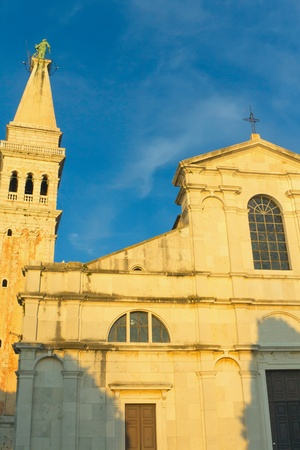 irradiated: Church of st  Euphemia in Rovinj sunset light irradiated  Croatia  Stock Photo