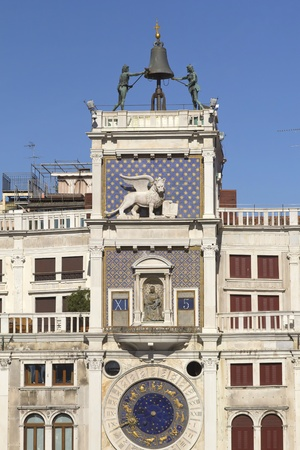 Clock tower in St Mark s square with zodiac  Venice ,Italy   Vertically  photo