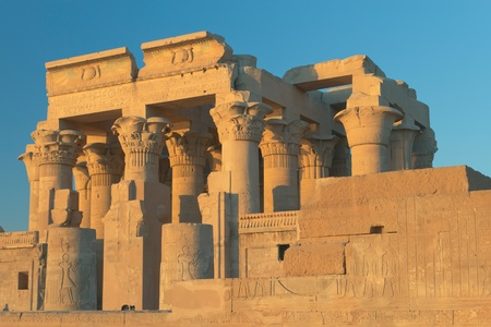 Temple of Kom Ombo in sunset light  near river Nile, Egypt