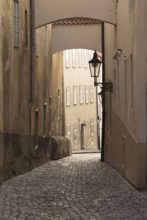 Old street in Prague  Czech Republic