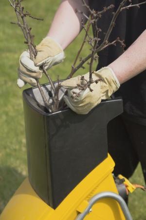 Handen werknemer die de tak geduwd om de breker Stockfoto