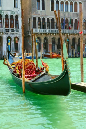 Lone Gondola anchored to the Grand Canal in Venice  Italy  Stock Photo - 13214196