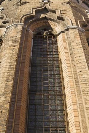 Gothic window  Basilica di San Giovani e Paolo  Venice, Italy   Vertically   photo