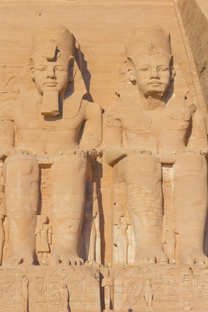Sculptures of King Ramses II and queen Nefertari in Abu Simbel Temple  Egypt   photo
