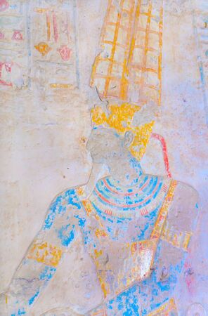 Ancient Egyptian King Ramses II in carved wall  Preserved the original color   Temple of Kalabsha, Egypt