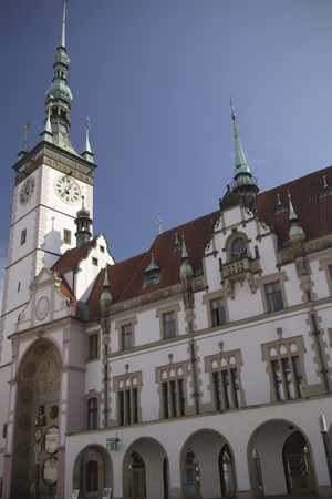 olomouc: The historical town hall with astronomical clock in Olomouc  Czech Republic, Central Europe  Stock Photo