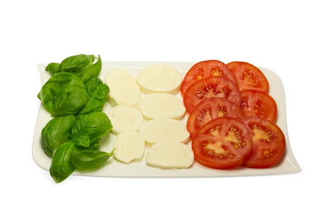Tomato, fresh basil leaves and mozzarella in a white plate