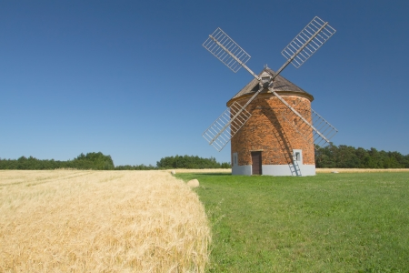 Brick windmill in a field of corn  Blue sky in the background   Chvalkovice, Czech Republic