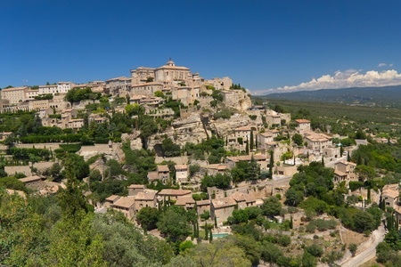 View of the hilltop village of Gordes   Provence, France   This village has a typical Provencal character   photo